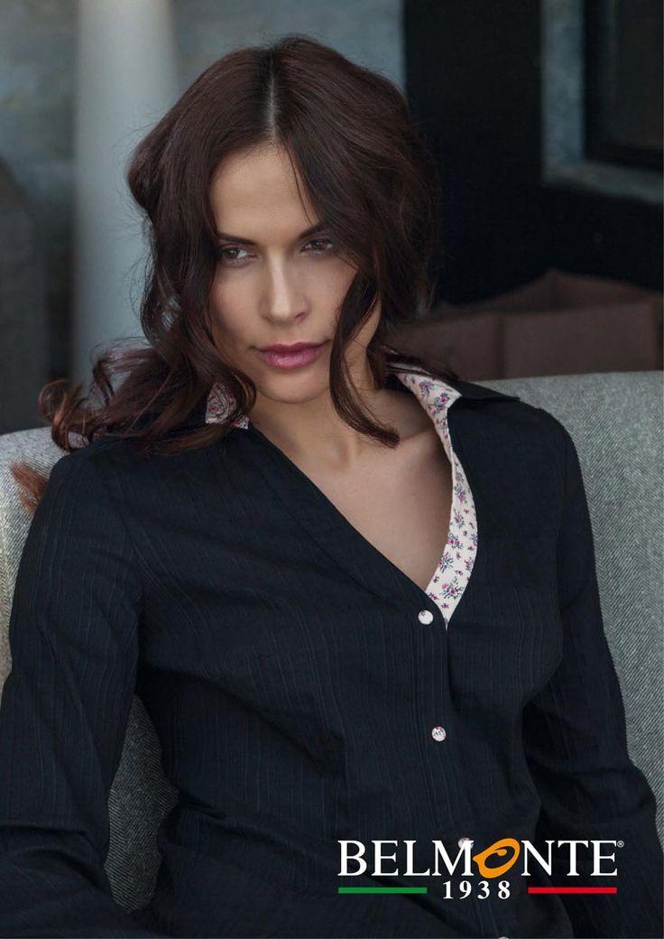 Camicia Blu con Contrasto a Fiori Serie Argento Donna