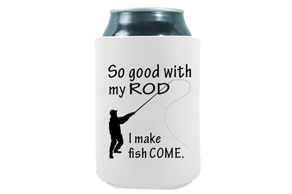 Perfect for any fishing friend that loves a good inappropriate joke! Includes TWO (2) Quality Neoprene Fishing Can Coolers Funny Drinking Quotes - So Good With My Rod, I make fish come - BEST QUALITY SOFT THICK NOVELTY COOLERS | COOLIES | FUNNY COOZIES | HUGGIES ON ETSY - COOL COAST