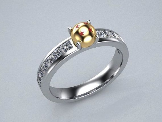 Inspired by Dragon Ball Z  diamond engagement ring in 14k yellow and white gold on Etsy, $2,464.18 AUD