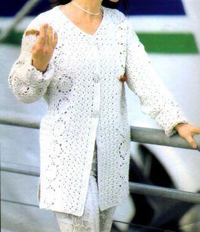 tejidos artesanales en crochet: saco largo tejido en crochet (talle 50-52)
