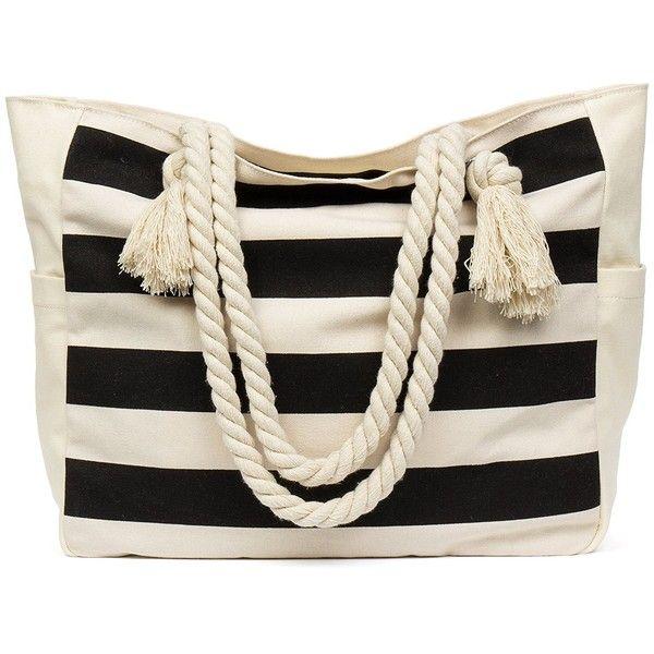 Amazon.com | MalironaBeachCanvasTravelToteBag (Black Stripes) |... ($26) ❤ liked on Polyvore featuring bags, handbags, tote bags, beach tote, canvas beach tote bags, stripe tote bag, travel tote and striped tote