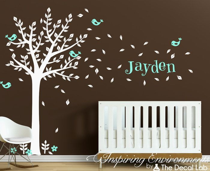 Baby Nursery Vinyl Wall Decals White Tree and Birds by DecalLab, $115.00