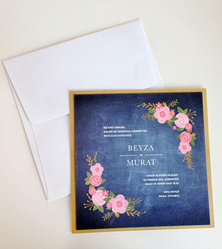 Karatahta Floral Düğün Davetiyesi #rusticweddings #rusticweddinginvitation #rustikdüğündavetiyesi
