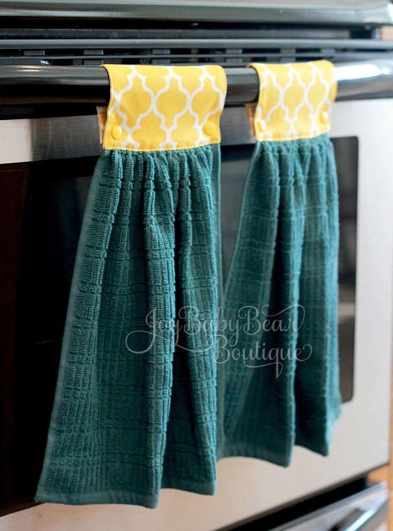 Hanging Kitchen Towels Housewarming Gift Yellow And Teal Kitchen Towel Set Hanging Hand Towel Y Kitchen Towels Hanging Kitchen Towel Set Hand Towels Diy
