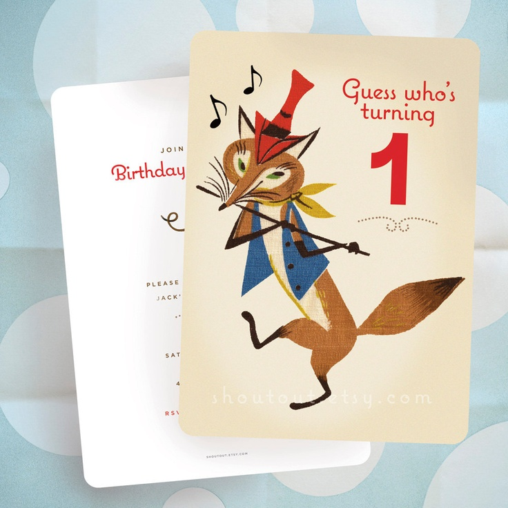 free printable funny0th birthday invitations%0A Baby u    s First Birthday Party Invitation  FOX  Vintage Barkcloth Design   Ready to Ship