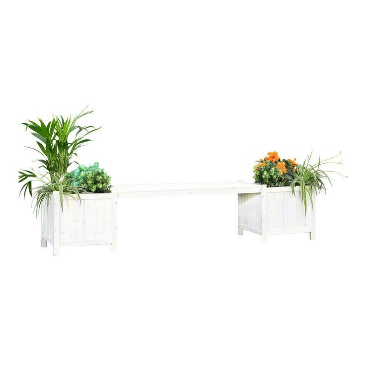 2in1 Gartenbank Weiß + 2 Blumenkübeln Holzbank Blumenkasten Holz Garten Bank in Garten & Terrasse, Möbel, Bänke | eBay!