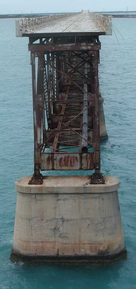 The Old Seven Mile Bridge - completed 102 years ago to link Marathon to the Lower Keys, is deteriorating in the harsh salt and sun environment. The main section is already too unsafe for fishermen who continuously lean on the fragile railing but a nonprofit community group was formed to try to rescue the bridge.