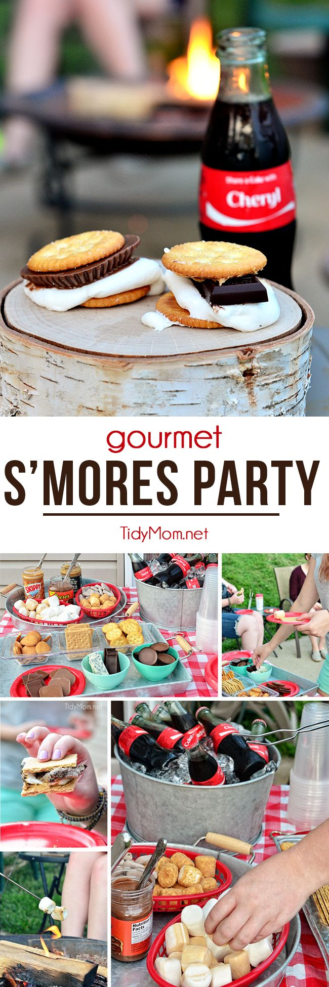 """Everyone loves roasting marshmallows over a bonfire, but this time the nostalgic activity get's a fancy twist with a gourmet make-your-own s'mores party! at TidyMom.net..""""Have you had s'mores on crackers yet? The sweet and salty combo is fabulous! I may never eat them on a graham cracker again! - try with different marshmallow flavors and candy bars for GOURMET S'MORES """""""
