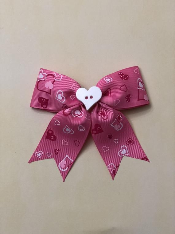 Hair Accessories 4.5 Sweet Heart Print Hair Bows Pink Red Dot Hair Clips For Girls/kids Lovely Valentines Day Hairgrips Hair Accessories