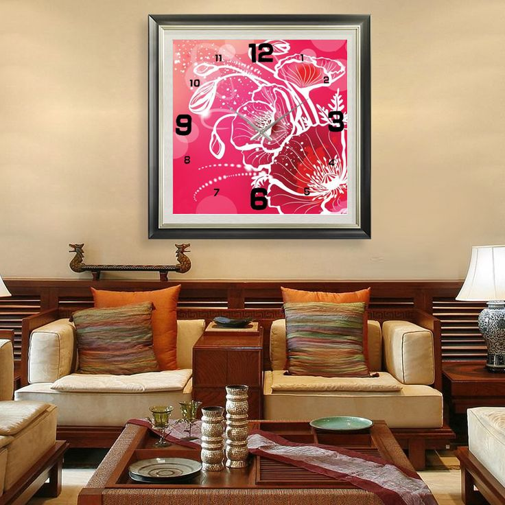 DIY - Red Flowers https://walldecordeals.com/diy-large-modern-design-decorative-diamond-mosaic-3d-wall-clocks-diamond-embroidery-red-flowers-mosaic-diamond-painting/