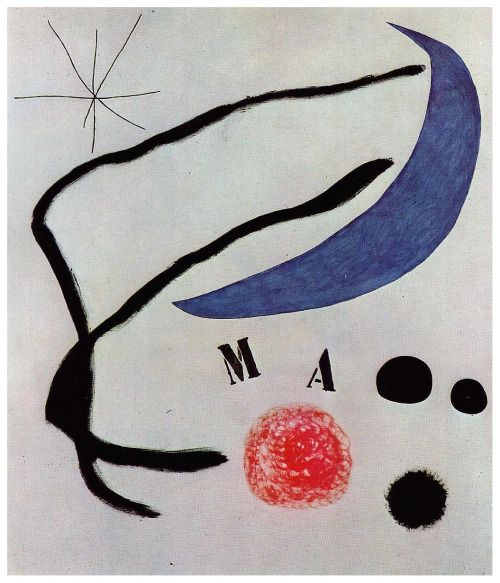 Joan Miro, Poem.  See The Virtual Artist gallery: www.theartistobjective.com/gallery/index.html