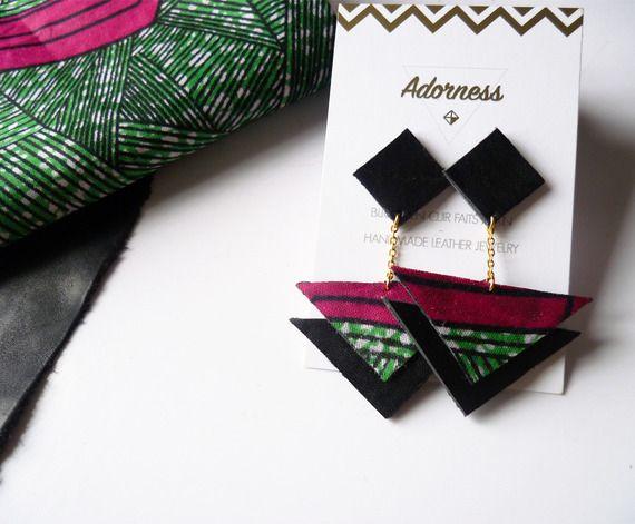 Boucles d'oreilles wax triangle carré en cuir recyclé noir et tissu africain wax rose vert - Idée cadeau Fête des mères