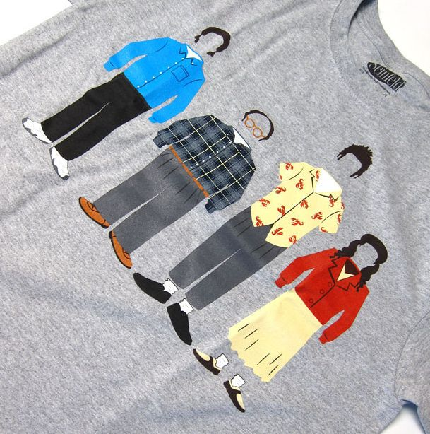 Seinfeld Group Shirt This official Seinfeld shirt meticulously depicts the main characters' traditional hair and garb. #seinfield