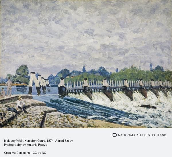 Alfred Sisley (1839-1899),Molesey Weir, Hampton Court, 1874. He  captures splendidly the spume and spray of the river as it slides over the foreground weir or gushes through the barrier beyond.