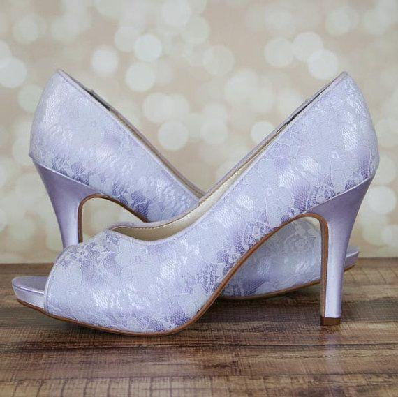 Lilac Wedding Shoes   Lilac Lace Shoes   Peeptoe Bridal Heels   Lace  Wedding Shoes   Bride on Budget  df1068165803