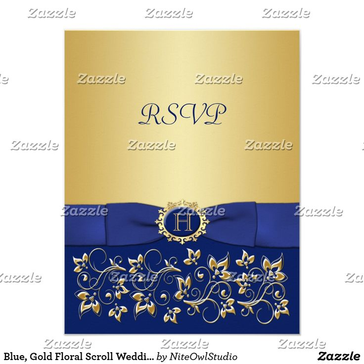 Blue, Gold Floral Scroll Wedding Reply Card This elegant and modern royal blue and gold floral and scrolled pattern wedding R.S.V.P. card has a PRINTED blue ribbon with a PRINTED blue and gold faux engraved button medallion on it that matches the wedding invitation shown below. All text and the paper choice is customizable. ***PLEASE NOTE there are no raised elements on this invitation. Everything is printed flat.***PLEASE NOTE that if you change the font or size of the font, it may alter…
