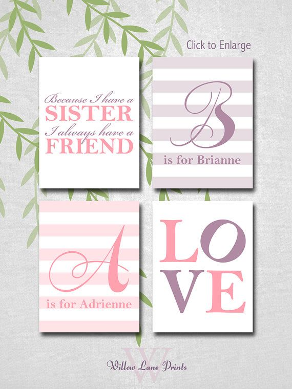 "Personalized Sisters Wall Art kids, twin baby girls nursery decor, ""Because I have a sister"""
