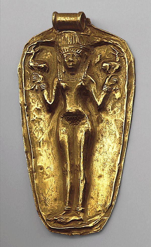 """Qudshu"" Gold Pendant. 1300 BCE. From Uluburun Shipwreck, Southwestern Turkey."