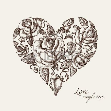 Vintage hart van rozen Stockfoto