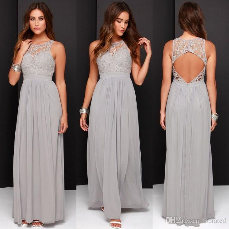 2016 Cheap Grey Bridesmaid Dresses for Wedding Long Chiffon A-Line Backless Formal Dresses Party Lace Modest Maid Of Honor Dress from toprated, $70.06 | DHgate Mobile