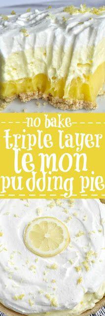 {no bake} Triple Layer Lemon Pudding Pie | Mom's Food Recipe
