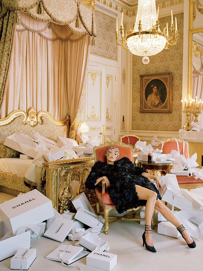 Kate Moss wearing Chanel Haute Couture Spring/Summer 2012 at the Ritz. Photographed by Tim Walker for Vogue US.