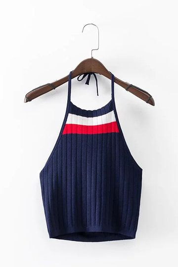 Stripe Pattern Halter Neck Knit Crop Top from mobile - US$11.95 -YOINS