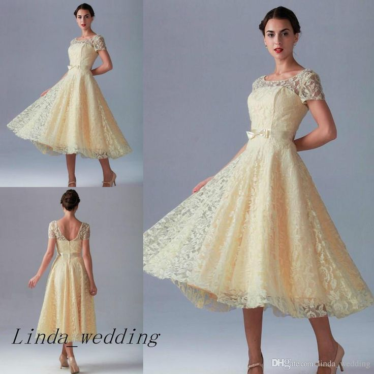Tea Length Bridesmaid Dresses Vintage Champagne Yellow Short Sleeves Lace Beach Maid Of Honor Gowns Wedding Party Dress Pale Blue Bridesmaid Dresses Peach Bridesmaid Dress From Linda_wedding, $658.02| Dhgate.Com
