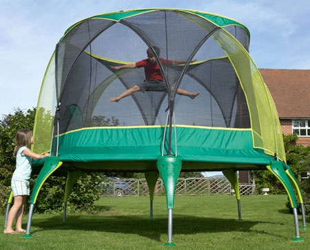 12ft trampoline with enclosure showing boy jumping