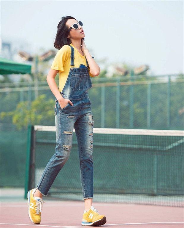 ISSGI новые джинсовые комбинезоны носили летние Виви корейские женщины были тонкие кусок брюки комбинезоны девять очков - Taobao