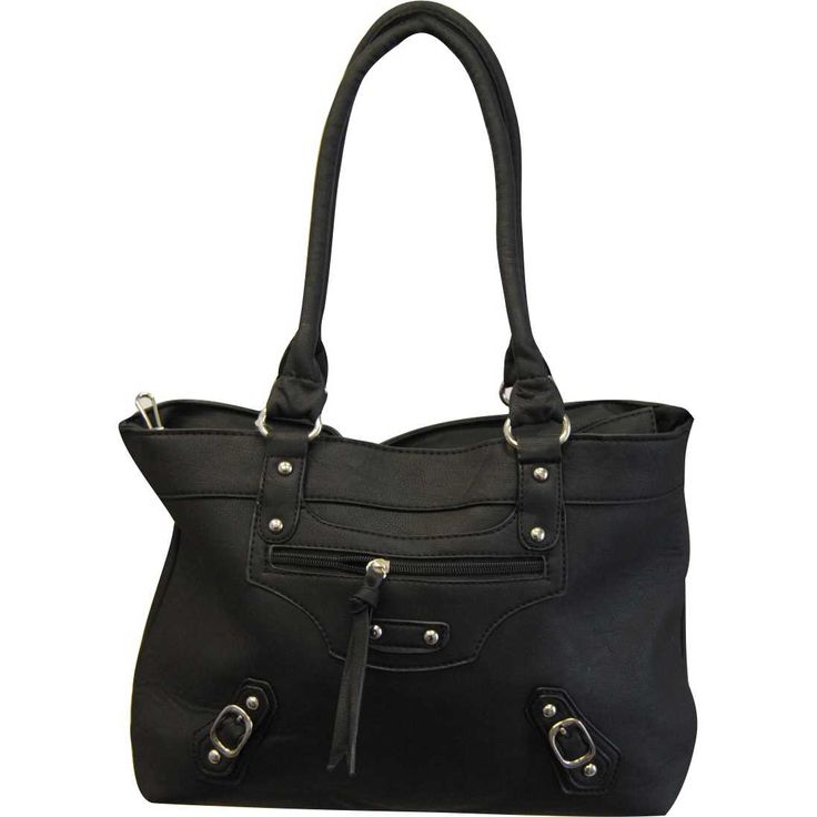 19FAB Blk: Black purse with silver-toned accents