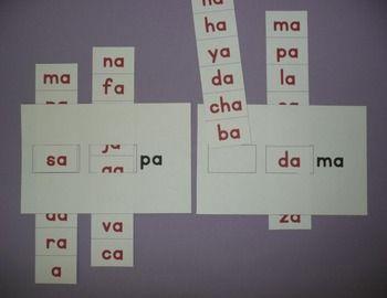 Recurso para lectura por sílabas (leer en alta voz palabras de 2 o 3 sílabas) que suele divertir a los niños. Incluye grabaciones. [Spanish syllable sliders. Recording page included.]