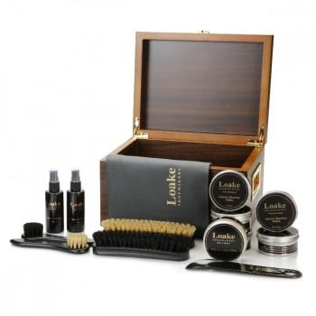 The Valet box contains a cloth, shoe horn, oiled / waxy leather protector, suede cleaner, suede protector, and polishing brushes. Also contains the following beeswax polishes: Black, Dark Brown, Mahogany, Tan & Neutral. https://www.marshallshoes.co.uk/accessories-c46/loake-wooden-valet-box-luxury-care-kit-p4983