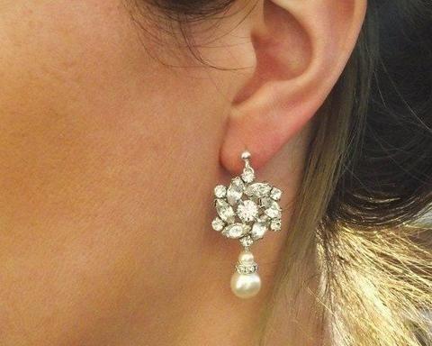 Wedding Earrings - Vintage Inspired Wedding Pearl Drop Earrings, Madelaine
