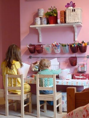 """Cute idea for the kid part of the craft room. I used the Ikea bar and container idea.  Works great! MUST HAVE for your craft room if you have little ones!!! Will give them their own """"supplies"""" and space so u can work with LESS interruption :) this would be great for my nephew"""