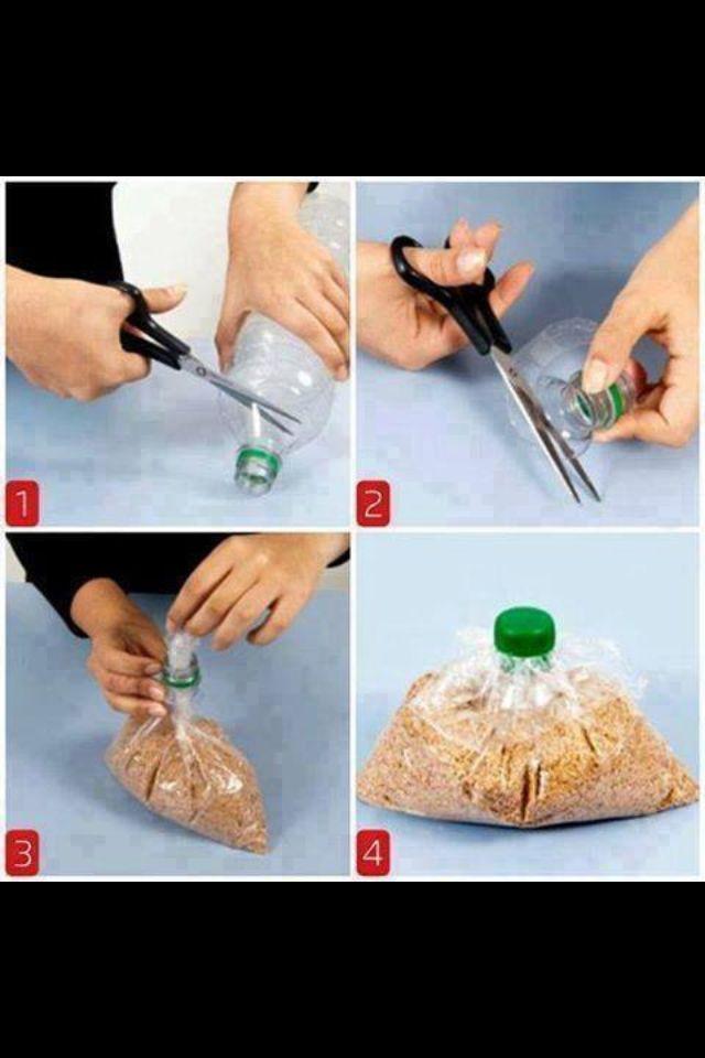 Von alten Flaschen kann man den oberen Teil abschneiden und somit als Verschluss für offene Tüten Nutzen!