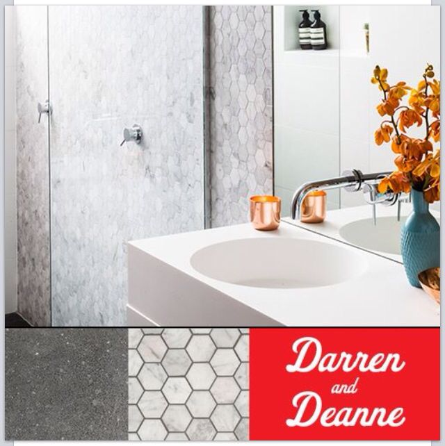 Metropol Strong Grey & Mosaic Carrara Hexagon tiles from Beaumont Tiles