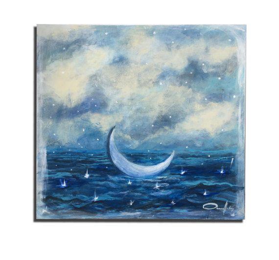 Peinture Acrylique Le bain de lune par DanielleRoyStudio sur Etsy