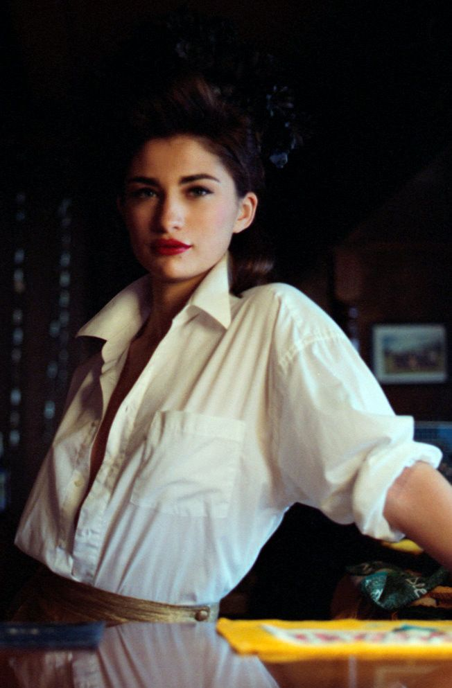 white blouse and red lips