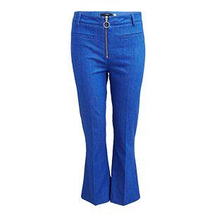 Avkortet jeans med sleng Blå