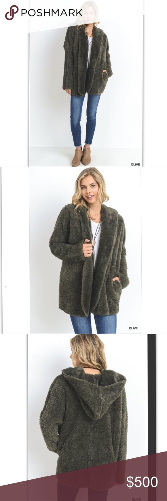 PREVIEW Solid faux fur hooded jacket In Olive Description: -Solid faux fur hooded jacket with long sleeves and side pockets. Unlined. Non-sheer. Lightweight.  -Model is 5'8'' and is wearing a Small.  Category: Jackets    Content: 100& POLYESTER Jackets & Coats