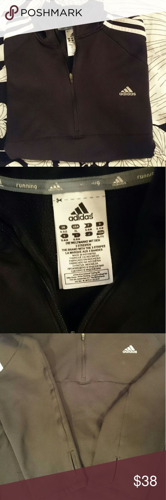 Adidas Response Half Zip Running Jacket Adidas Response Half Zip Running Pullover Jacket. PERFECT CONDITION! Has thumbholes to keep sleeves in place, as seen in 3rd pic.  10% discount when bundled with another item! Adidas Tops Sweatshirts & Hoodies