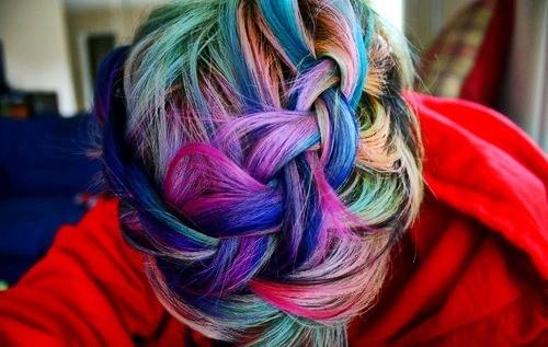 Braided Rainbow Color Hair Style Hair Style Dyed Hair