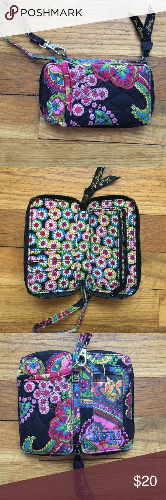 Vera Bradley Wristlet Great condition Vera Bradley wristlet. Iphone 6 fits in front pocket. Wallet pockets on inside. Vera Bradley Bags Clutches & Wristlets