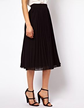 Image 4 of ASOS Midi Skirt with Pleats perfect length