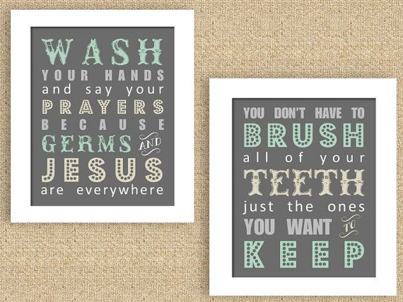 Bathroom Print Set with Germs & Jesus and by printscharmingdecor, $25.00