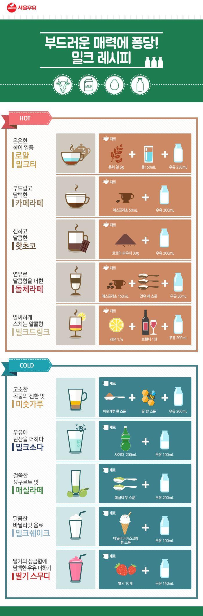 그냥 마셔도 맛있지만, 무엇과도 잘 어울리는 서울우유! 오늘은 서울우유를 활용한 레시피를 준비했는데요~ :D 무려 10가지를 준비했으니 여러분의 취향을 저격하는 밀크레시피가 하나는 무조건 있을 거예요~ :) 부드러운 매력에 퐁당! 빠질 준비가 되셨다면 레시피를 함께 볼까요?