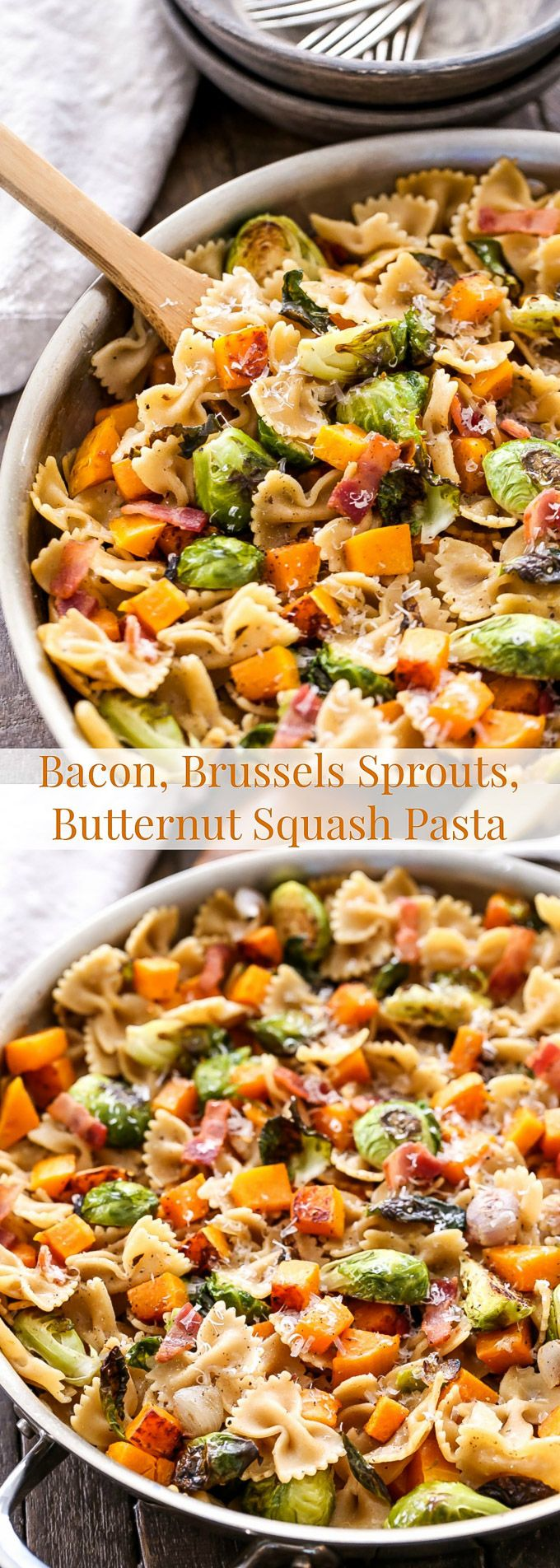 Veggie pasta never looked so good! This Bacon, Brussels Sprouts, Butternut Squash Pasta is a delicious and healthy comfort food dinner!
