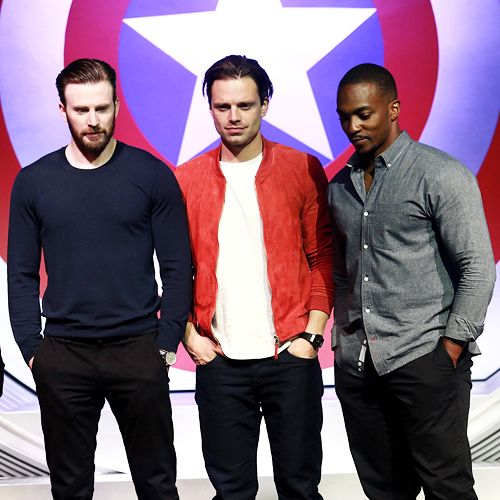 """Chris Evans, Sebastian Stan and Anthony Mackie attend the press conference of """"Captain America: Civil War"""" on April 19, 2016 in Beijing, China."""