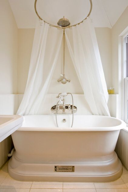 Victorian bath with shower over